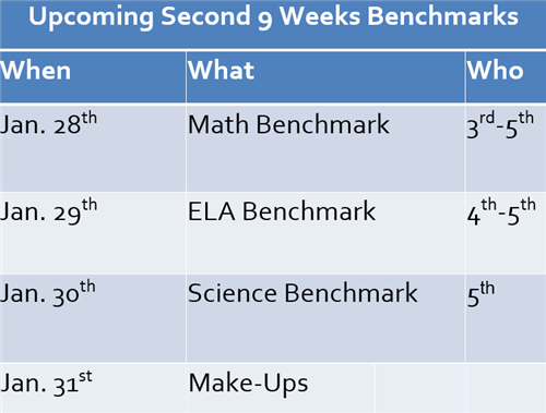 Upcoming Benchmarks for 3rd-5th Students