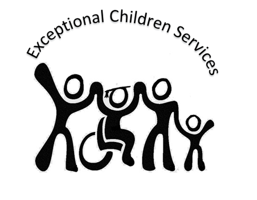 Banner saying Exceptional Children Services over four silhouettes, one wearing a graduation cap