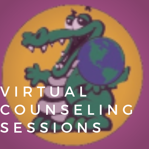 Gator logo reading virtual counseling sessions