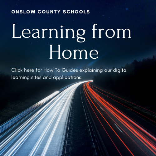 Night time highway flyer explaining link for Learning from home applications