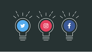social media icons in light bulbs