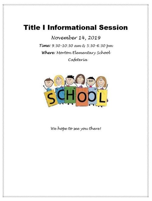 TITLE I INFORMATIONAL SESSION