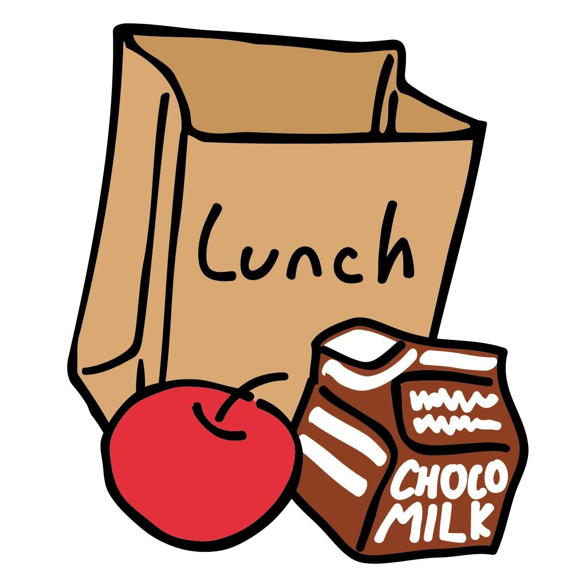 Lunch bag with apple, chocolate milk