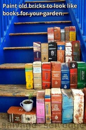 bricks painted to look like books