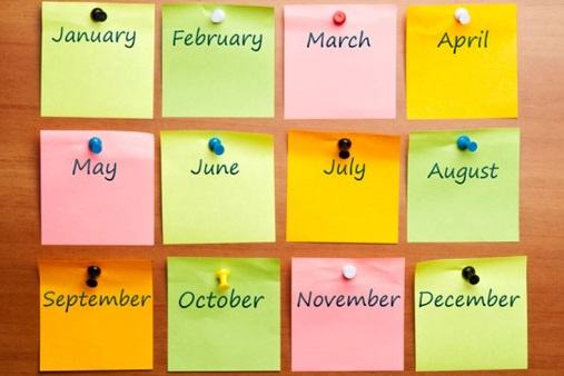 Months of the Year on Post its