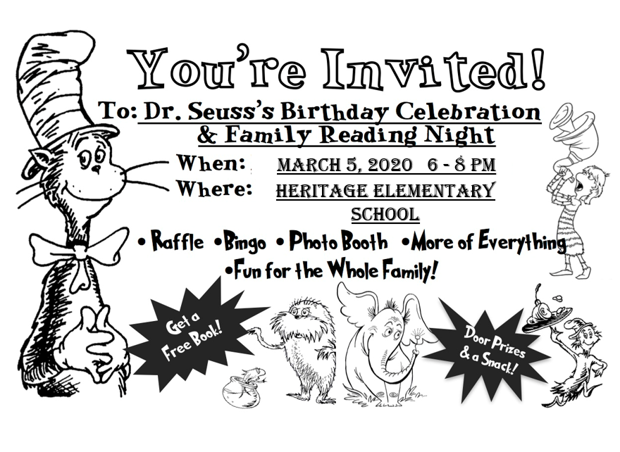 Dr. Seuss Night March 5th 6-8 pm