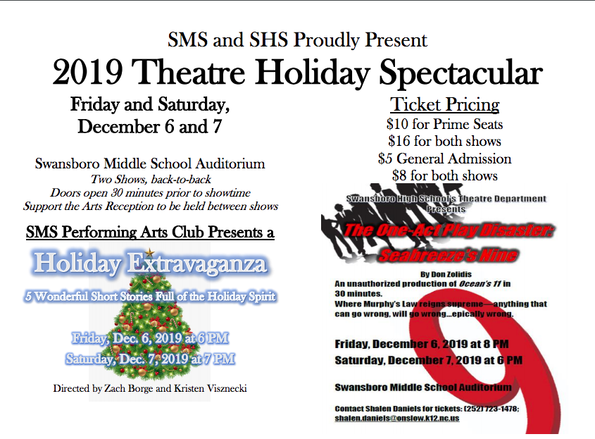 SBHS and SBMS Winter 2019 Holiday Show Poster