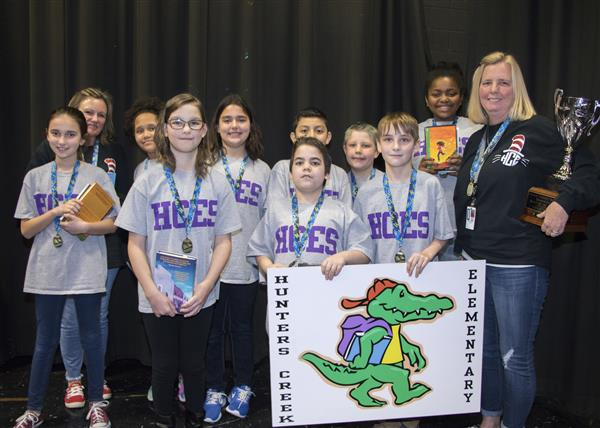 Hunters Creek Elementary poses with their first place trophy