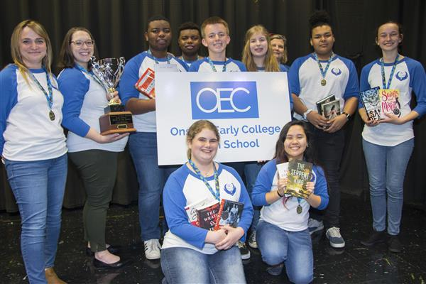 Onslow Early College students pose with their first place trophy