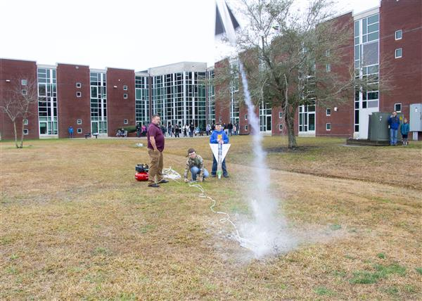 Students test their rocket in 3, 2, 1 Blast Off
