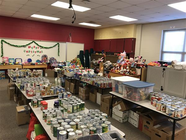 "The Heritage Elementary ""Giving Room"" is filled with food, household items and gifts for families in need"