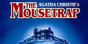 picture of a snow covered house on a hill advertising Agatha Christie's The Mousetrap