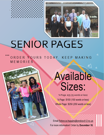 poster about senior pages with 2 pictures of students having fun