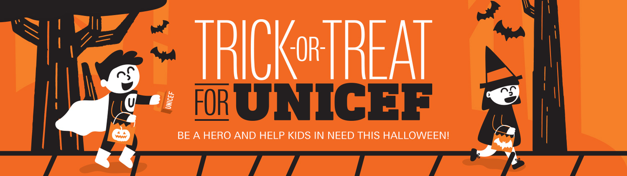 trick or treat for unicef with halloween deco