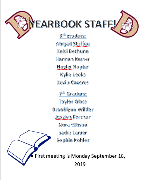 Yearbook Staff 2019 - 2020