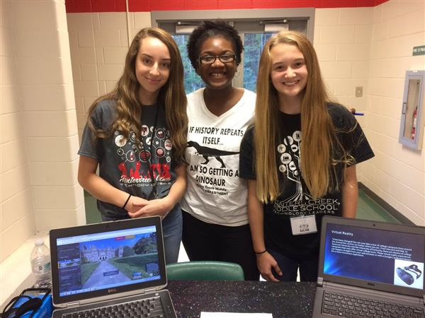 Students presenting at Tech Night