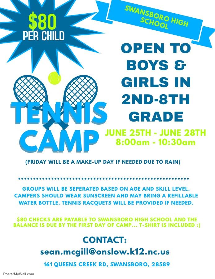 Tennis Camp Information Flyer