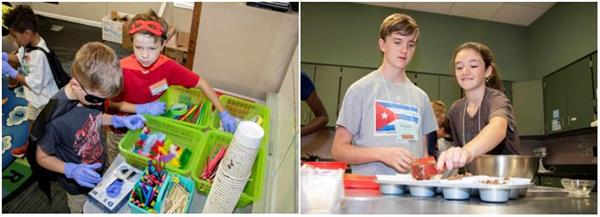 Student do hands-on learning at Camp Invention and CogniCon