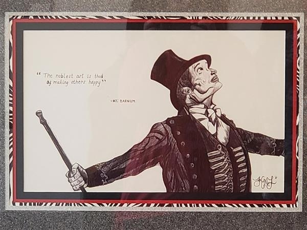 Artwork by Karley Lech depicting PT Barnum and a quote by him.